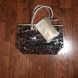 Clear Victoria's Secret Large Tote with Wristlet